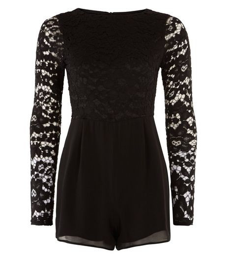 Teens Black Lace Long Sleeve Playsuit | New Look