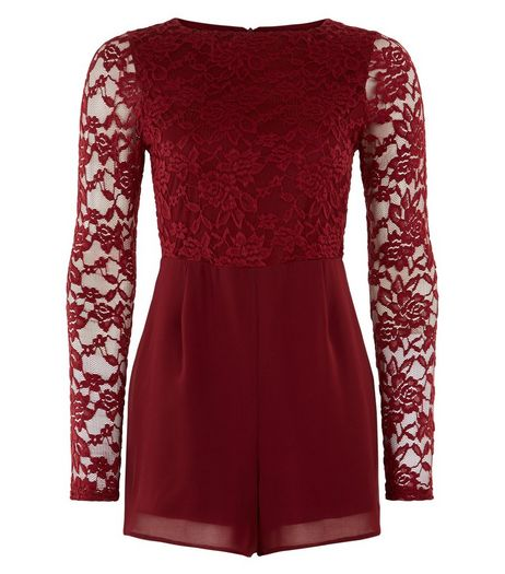 Teens Burgundy Lace Long Sleeve Playsuit | New Look