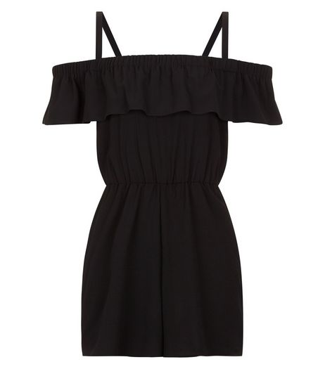 Teens Frill Trim Bardot Neck Playsuit  | New Look