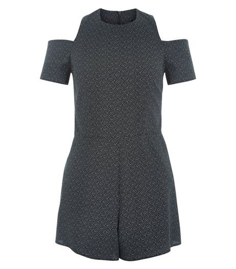 Teens Black Spot Print Cold Shoulder Playsuit  | New Look