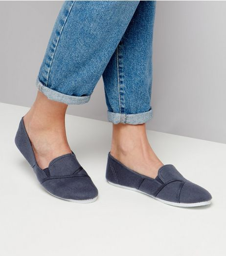 Navy Slip On Shoes  | New Look