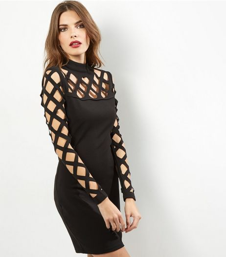 Parisian Black Lattice Sleeve Bodycon Dress | New Look