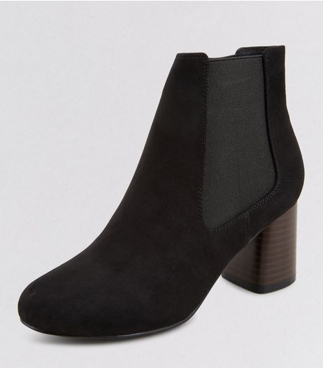 Teens Black Suedette Contrast Cylindrical Heeled Boots | New Look