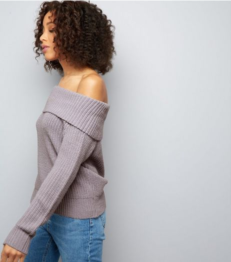 Lilac Ribbed Bardot Neck Jumper | New Look