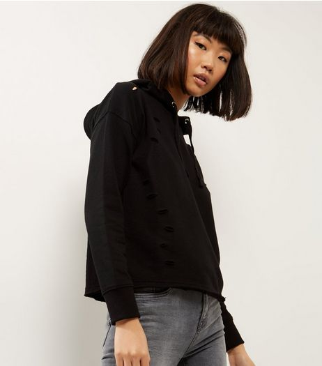 Black Ripped Trim Cropped Hoodie  | New Look