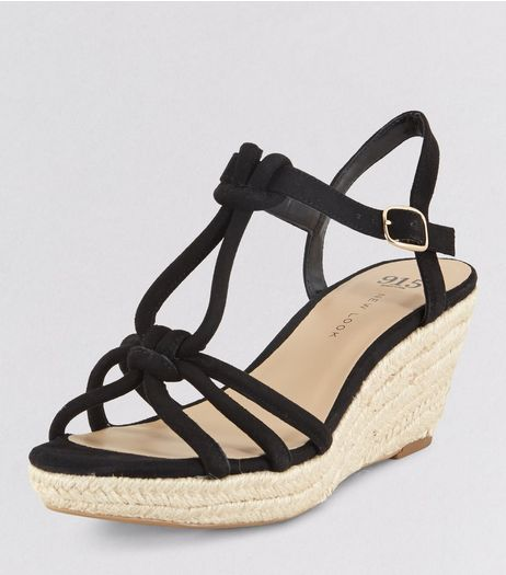 Teens Black Suedette Knot Strap Wedges | New Look