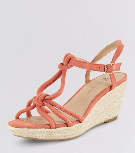 Teens Orange Knot Strap Wedges | New Look