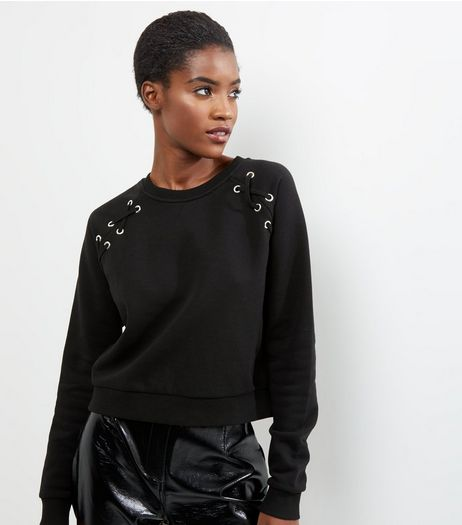 Black Eyelet Raglan Sleeve Sweater | New Look