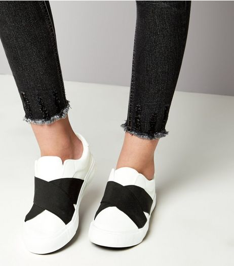 Teens White Elastic Strap Front Slip On Trainers | New Look