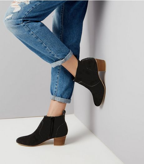 Black Suede Western Boots | New Look
