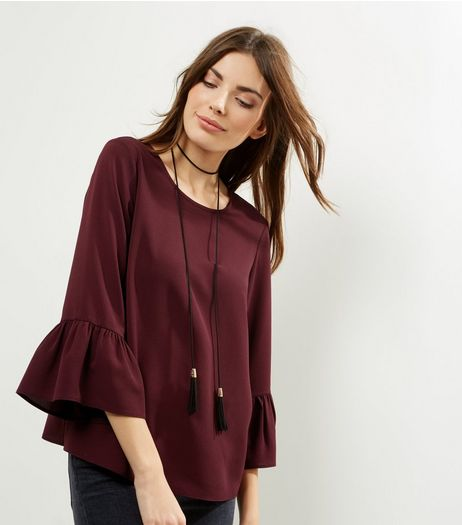 Burgundy Cross Back Bell Sleeve Top  | New Look