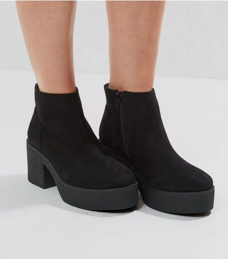 Black Suedette Chunky Textured Sole Heels | New Look