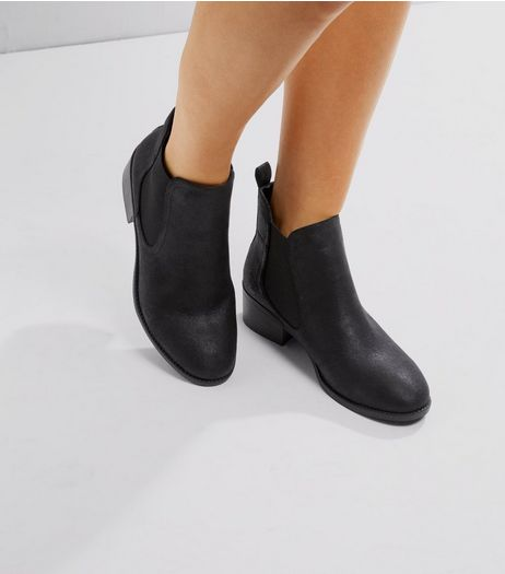 Black Suedette Elasticated Chelsea Boots | New Look