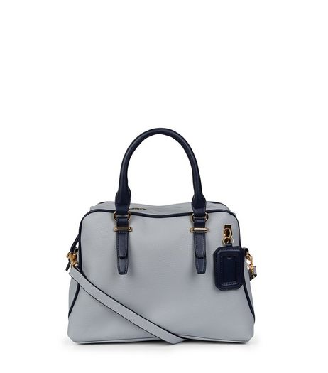 Pale Blue Contrast Trim Bowler Bag | New Look