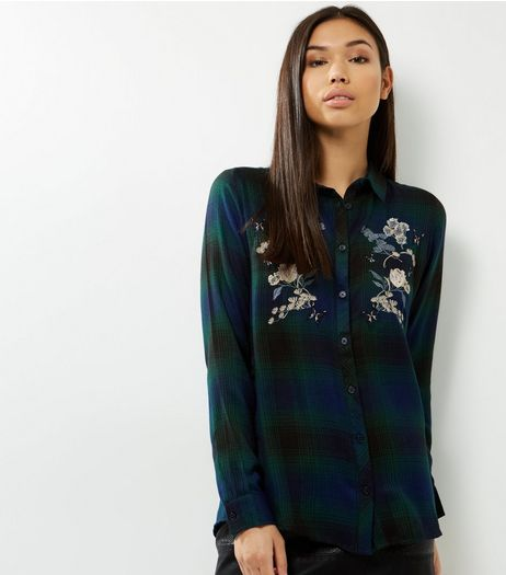 Green Check Floral Embroidered Shirt  | New Look