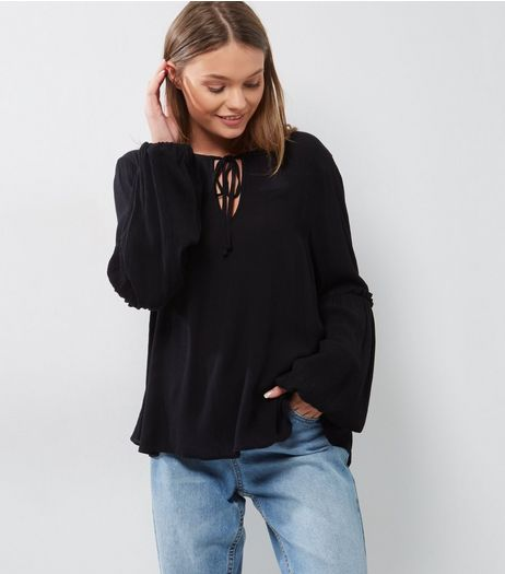 Black Frill Trim Tie Neck Bell Sleeve Top | New Look