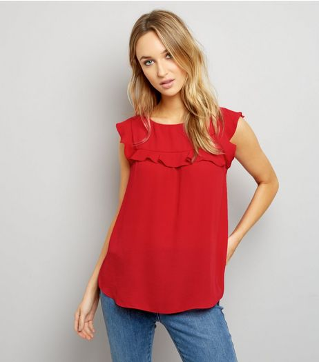 Dark Red Frill Trim Cap Sleeve Top  | New Look