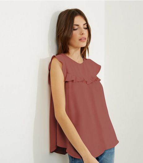 Pink Frill Trim Cap Sleeve Top | New Look