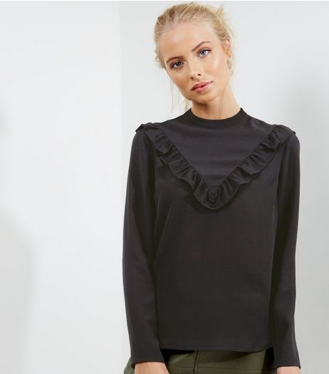 Black Frill Trim Chevron Long Sleeve Top | New Look