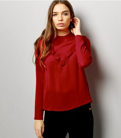 Red Frill Trim Chevron Long Sleeve Top | New Look