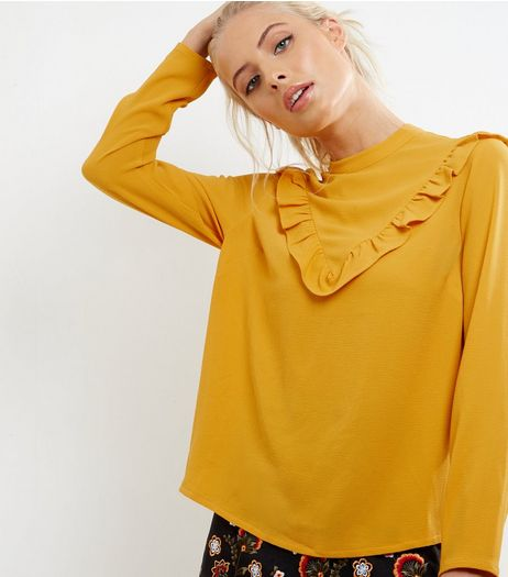 Yellow Frill Trim Chevron Long Sleeve Top | New Look