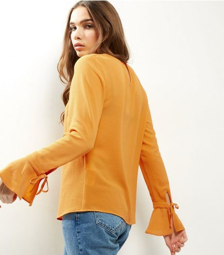 Yellow Tie Cuff Bell Sleeve Top | New Look