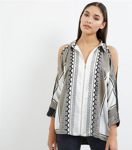 Black Scarf Print Zip Front Cold Shoulder Shirt  | New Look