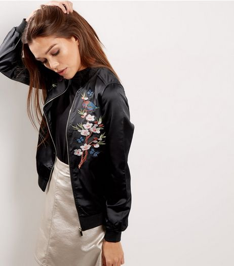 Blue Vanilla Black Sateen Floral Embroidered Bomber Jacket  | New Look