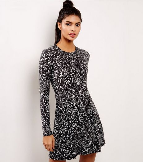 Blue Vanilla Black Paisley Print Swing Dress  | New Look