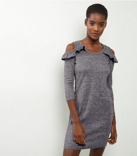Blue Vanilla Grey Cold Shoulder Frill Trim Dress | New Look