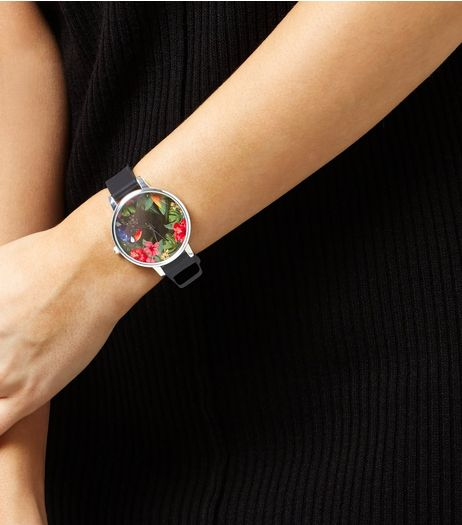 Black Floral Print Face Silicone Watch  | New Look