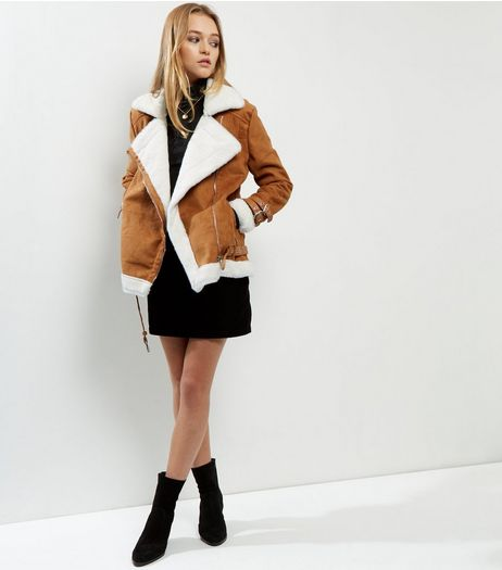 Blue Vanilla Camel Suedette Faux Shearling Biker Jacket  | New Look