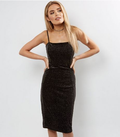 Blue Vanilla Black Metallic Velvet Bodycon Dress | New Look