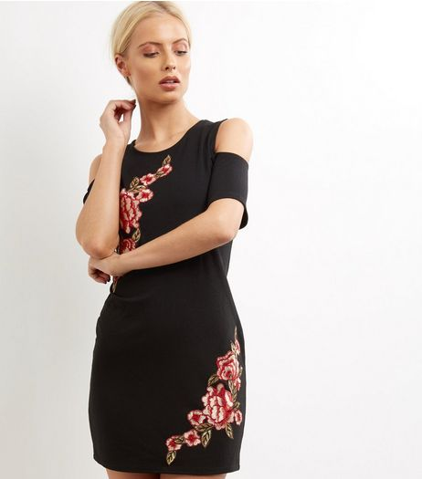 Blue Vanilla Black Floral Embroidered Cold Shoulder Dress | New Look