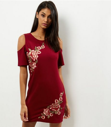 Blue Vanilla Red Floral Embroidered Cold Shoulder Dress | New Look