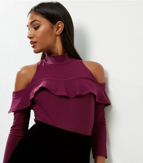 Blue Vanilla Burgundy Frill Trim Cold Shoulder Bodysuit  | New Look