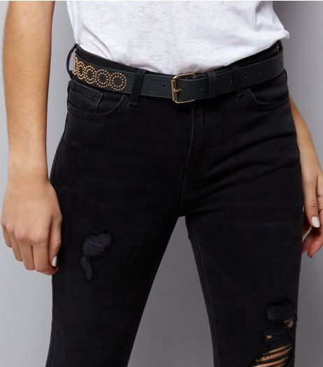Black Aztec Stud Print Belt | New Look