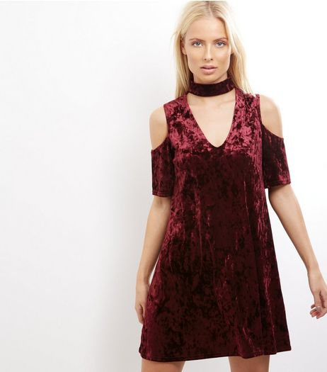 Blue Vanilla Burgundy Crushed Velvet Cold Shoulder Dress | New Look