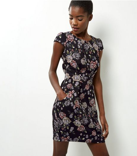 Blue Vanilla Black Textured Floral Tulip Dress  | New Look