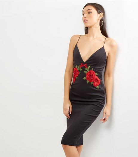 AX Paris Black Floral Plunge Midi Dress | New Look