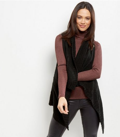 Mela Black Button Front Gilet  | New Look