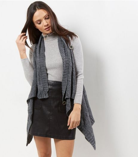 Mela Dark Grey Button Front Gilet  | New Look