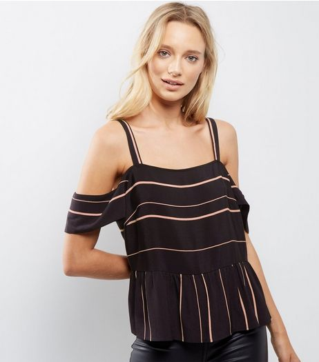 Black Contrast Stripe Cold Shoulder Peplum Top | New Look