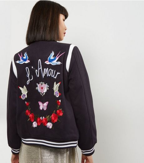 Black L'Amour Embroidered Bomber Jacket  | New Look