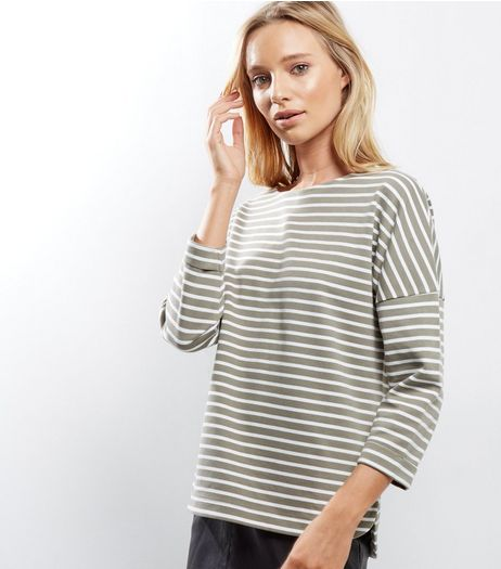 Light Green Stripe 3/4 Sleeve Top | New Look