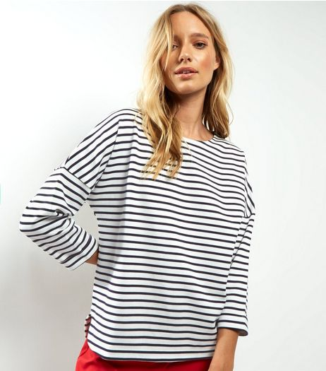 White Stripe 3/4 Sleeve T-Shirt  | New Look