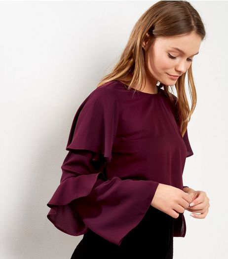 Burgundy Double Frill Sleeve Top | New Look