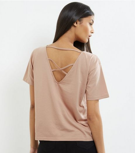 Light Brown Cross Strap Back Short Sleeve T-Shirt  | New Look