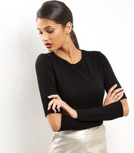 Black Split Elbow Long Sleeve Top | New Look