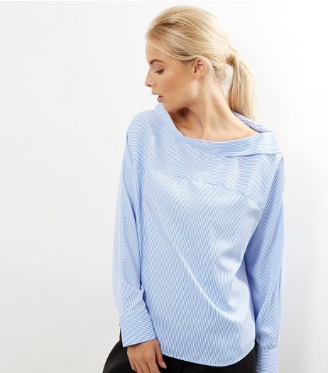 Blue Deconstructed Button Shoulder Shirt | New Look